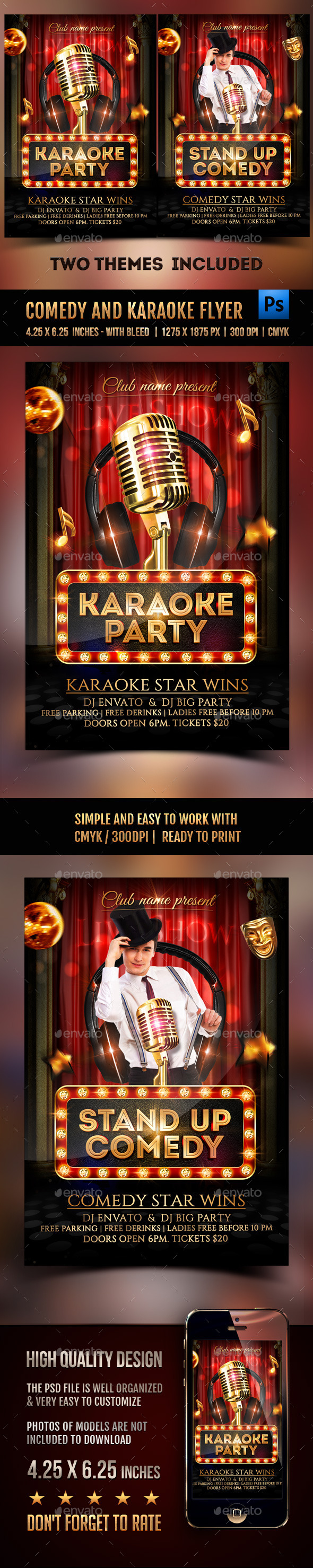 Comedy and Karaoke Party Flyer - Clubs & Parties Events