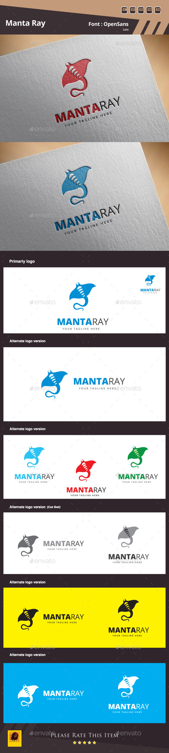 Manta Ray Logo Template - Animals Logo Templates