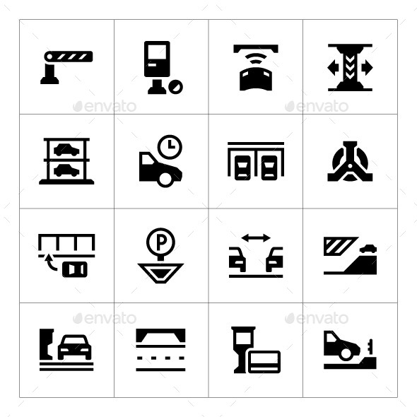 Set Icons of Parking - Man-made objects Objects