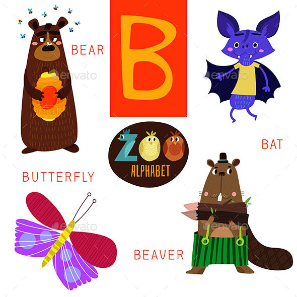 Zoo Alphabet in Vector B letter - Animals Characters