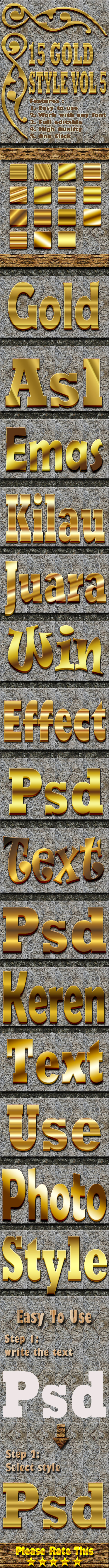 15 Gold Text Effect Style Vol 5 - Text Effects Styles