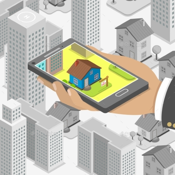 Real Estate Online Searching Isometric Concept.  - Computers Technology