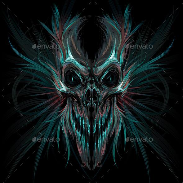 Dark Screaming Skull - Monsters Characters