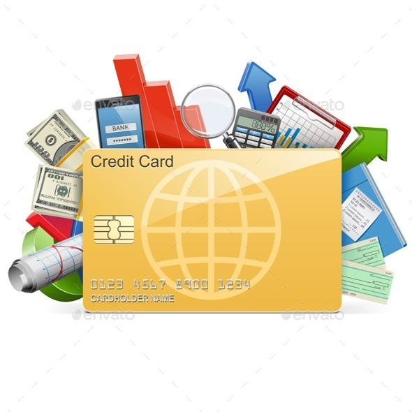 Vector Business Concept with Credit Card - Concepts Business
