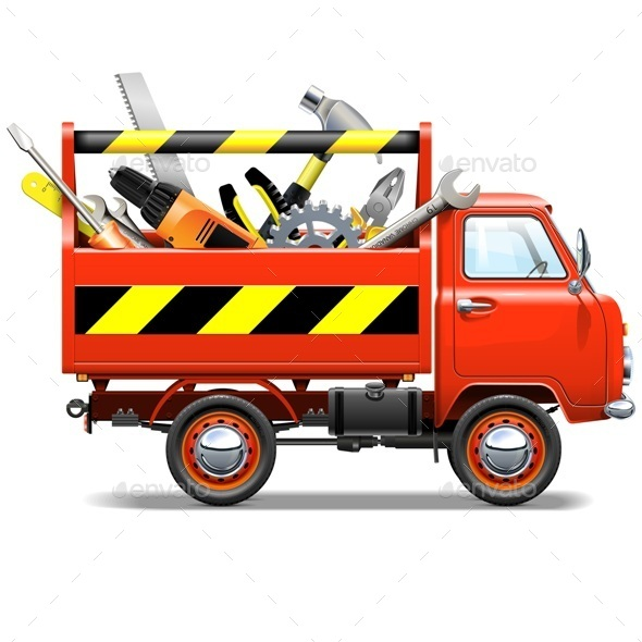 Vector Red Truck with Toolbox - Industries Business