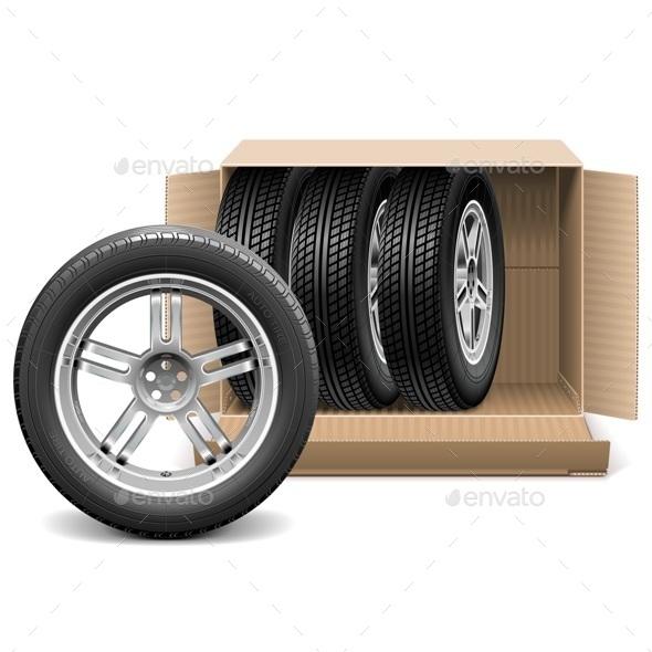 Vector Car Wheels in Carton Box - Industries Business