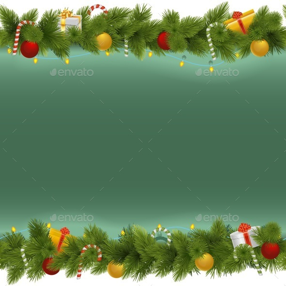 Vector Green Christmas Background with Garland - Christmas Seasons/Holidays