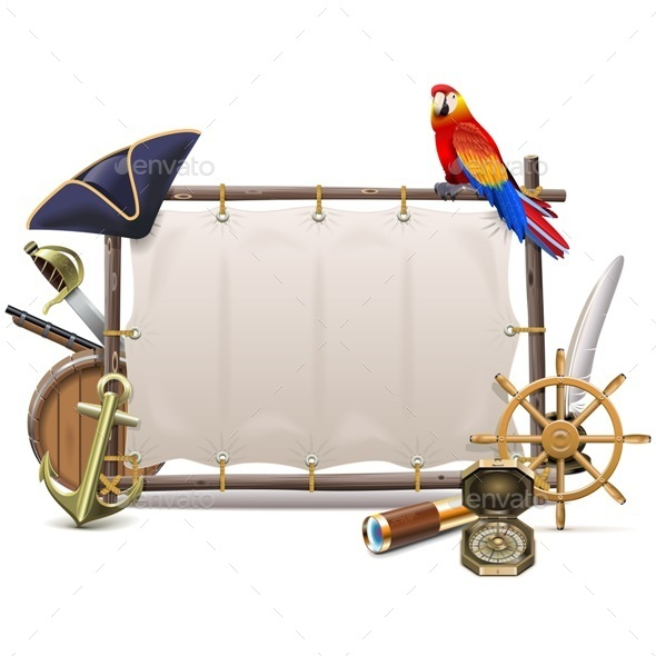 Vector Seafaring Frame with Sail