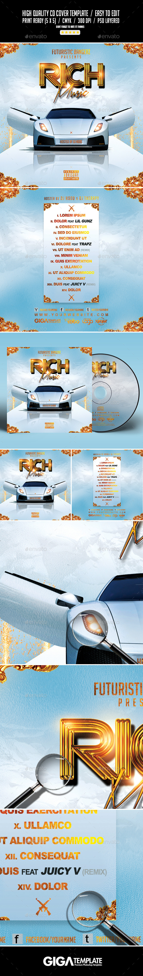 Rich Music | Mixtape Tape Album Cover CD Template - CD & DVD Artwork Print Templates