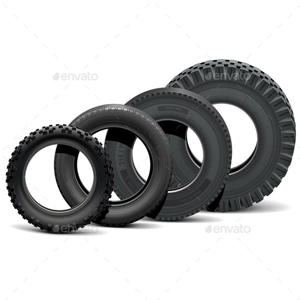 Vector Different Vehicle Tires - Industries Business
