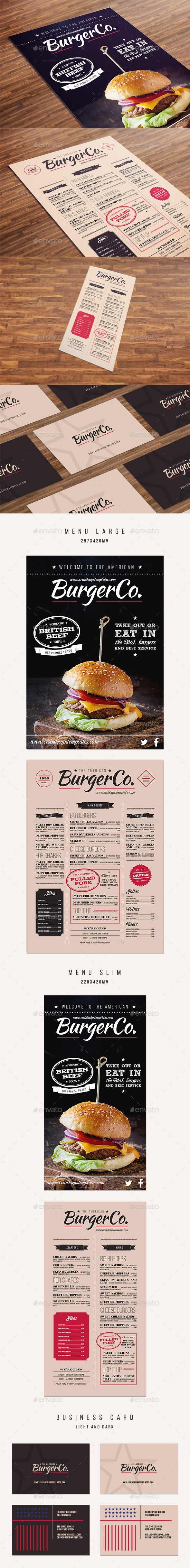 American Burger Menu - Food Menus Print Templates