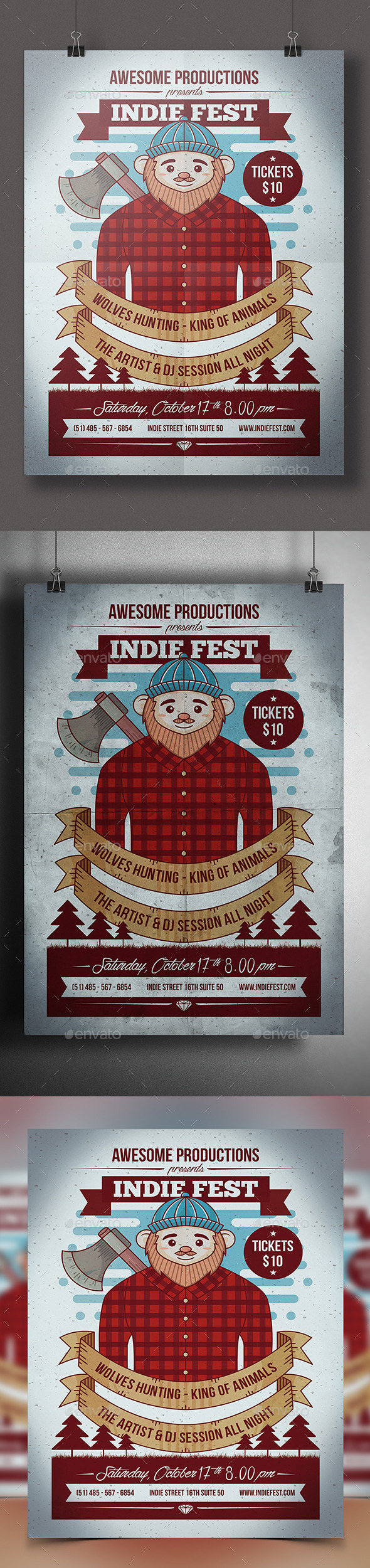 Hipster Lumberjack Party Flyer - Clubs & Parties Events