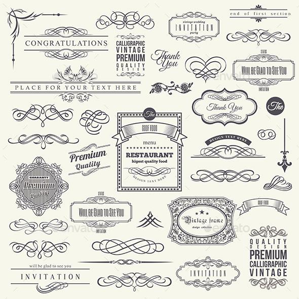 Calligraphic Design Elements - Web Elements Vectors