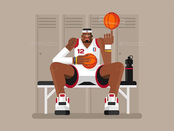 Cartoon Basketball Player - Sports/Activity Conceptual
