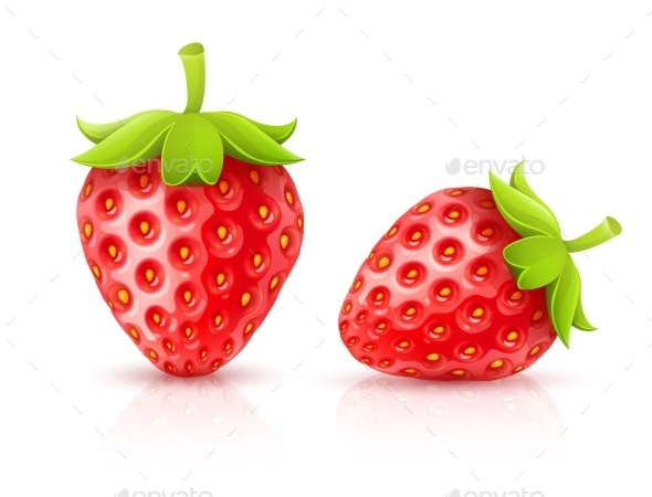 Strawberry Red Ripe Fruits Isolated