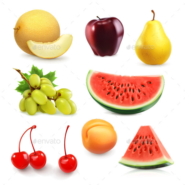 Summer Fruits Icons - Vectors