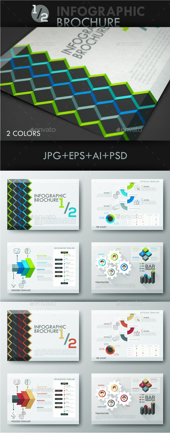 1 2 Infographic Brochure Template