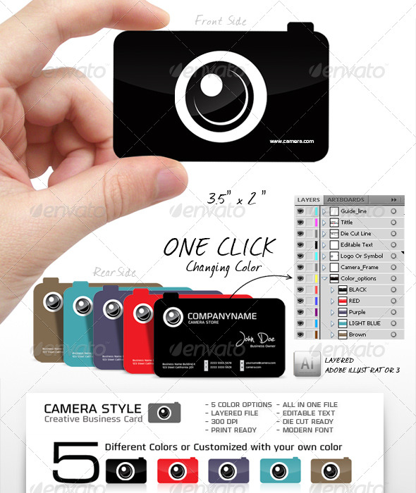 Camera Shape, Unique and Creative Business Card  - Industry Specific Business Cards