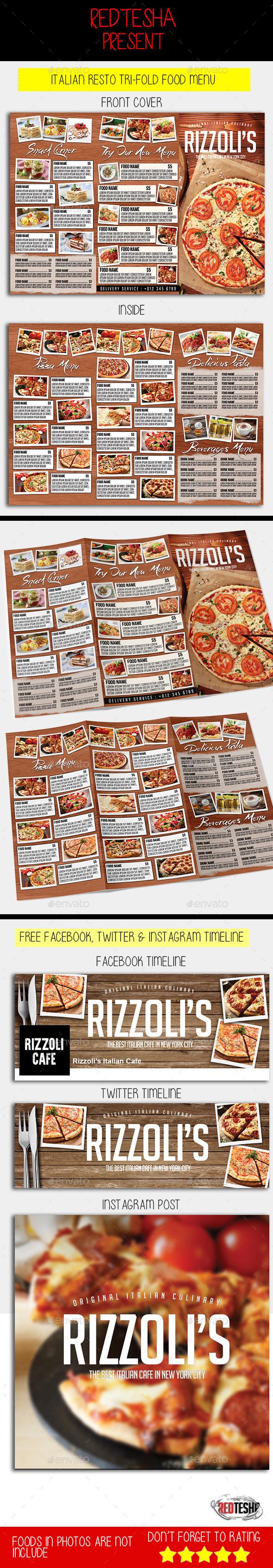 Italian Tri-fold Menu - Food Menus Print Templates