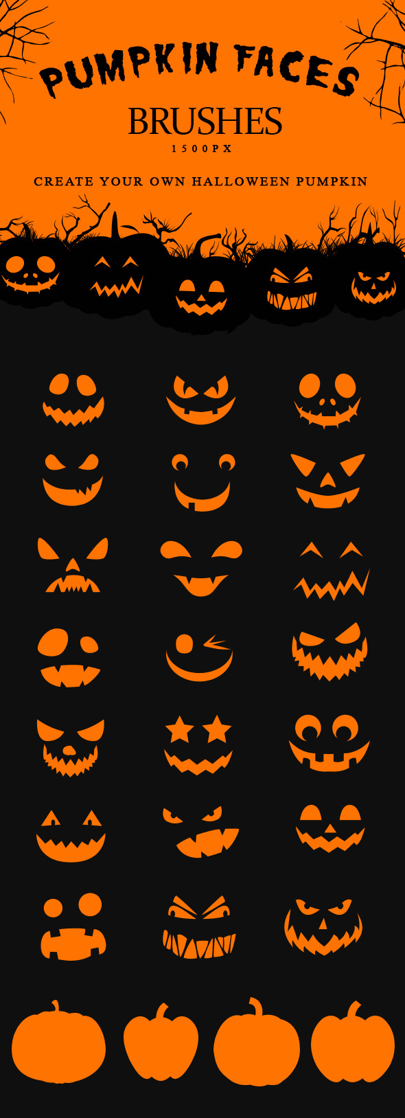 Pumpkin Faces Brushes Halloween