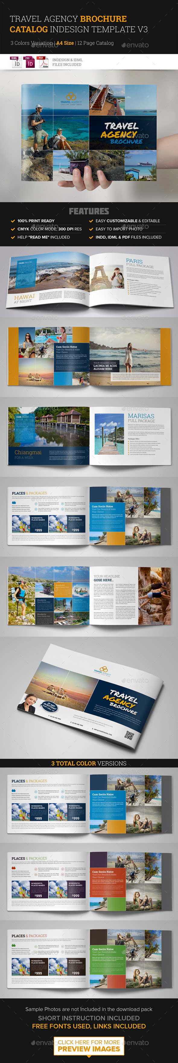 Travel Agency Brochure Catalog InDesign Template 3 - Corporate Brochures
