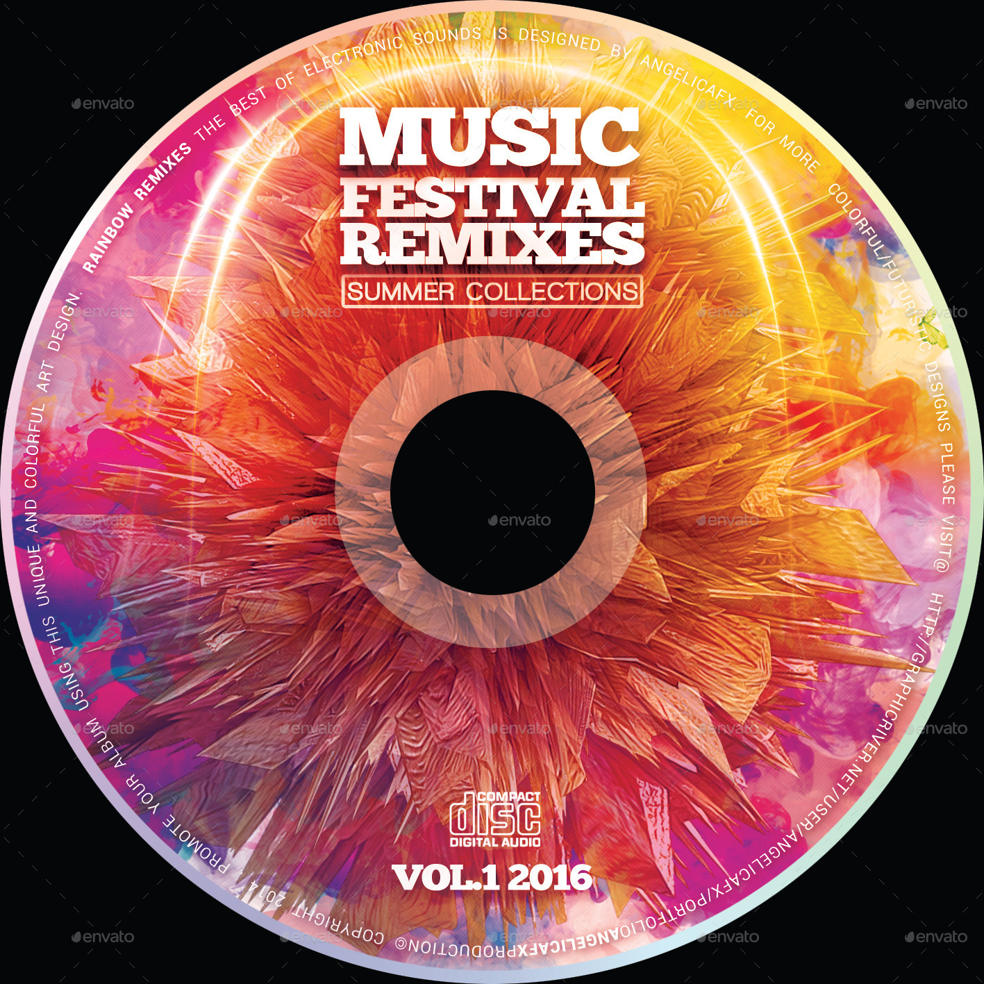 Music Festival Remixes CD Design Template by angelicafx   GraphicRiver