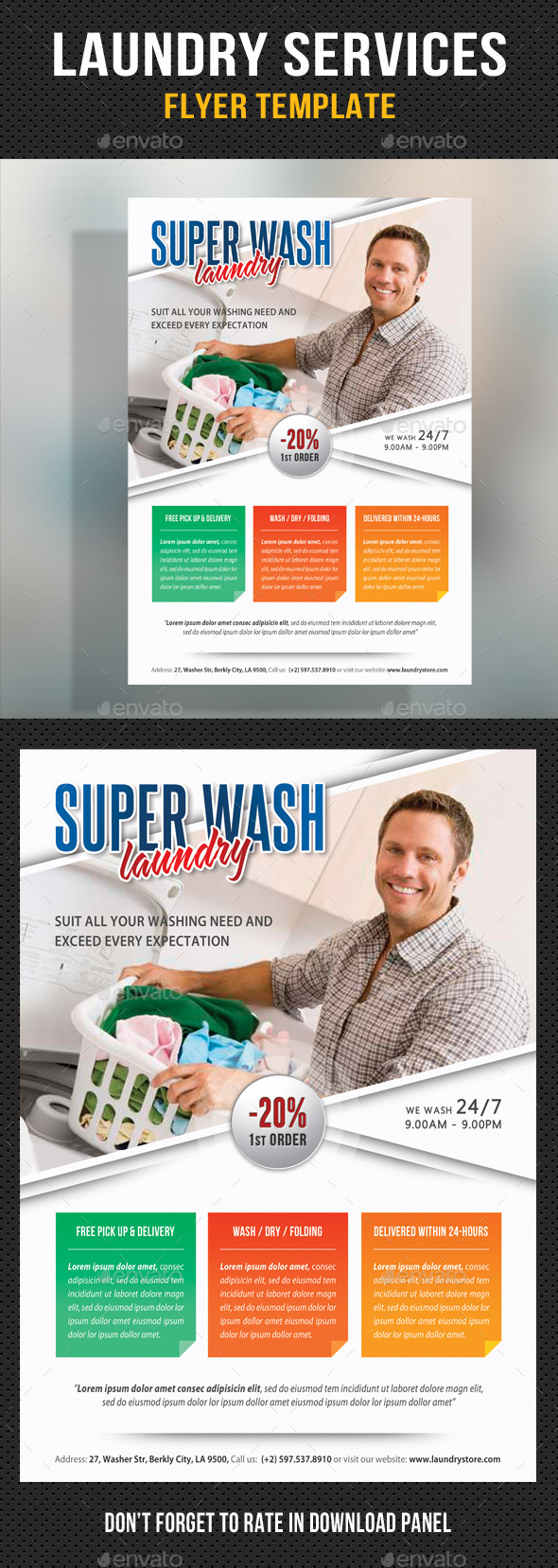 Laundry services flyer template v03 by rapidgraf for Laundry flyers templates