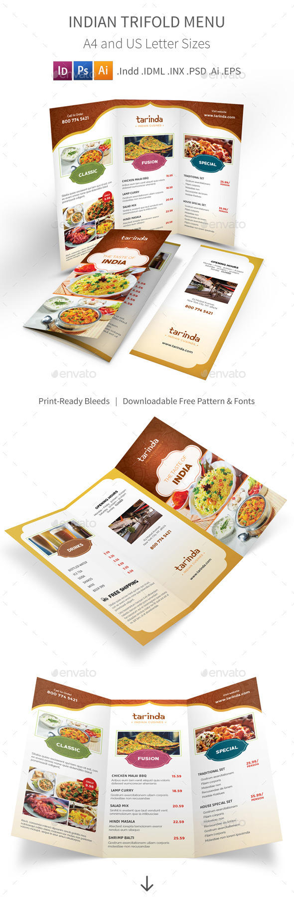 Indian Restaurant Trifold Menu - Food Menus Print Templates
