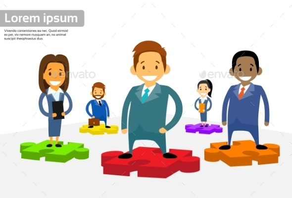 Business People Group Standing On Puzzle Piece - Concepts Business