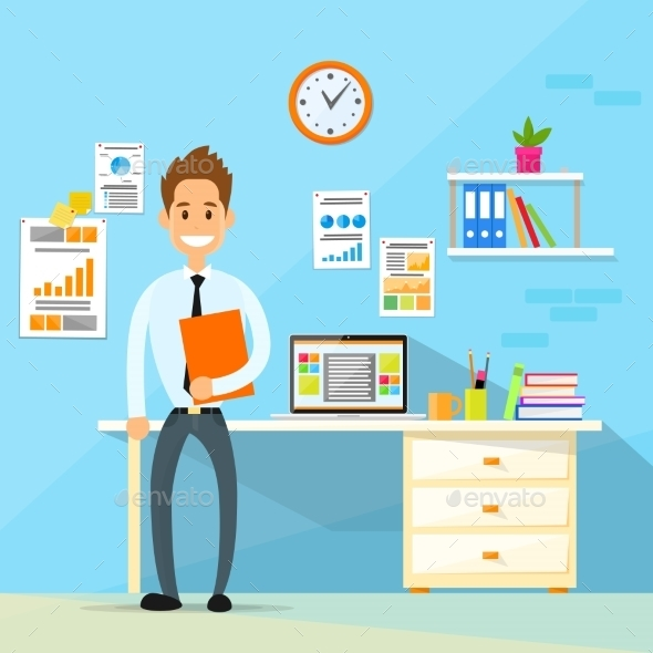 Business Man Desk Office Working Place Flat Vector