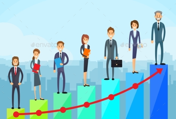 Business People Standing Financial Bar Graph - Concepts Business