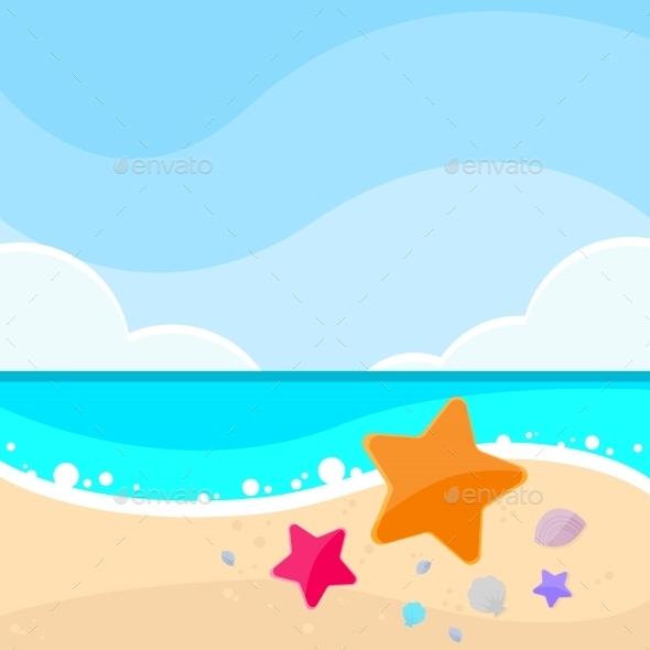 Summer Marine Beach Sand Sea Star Starfish Card - Landscapes Nature