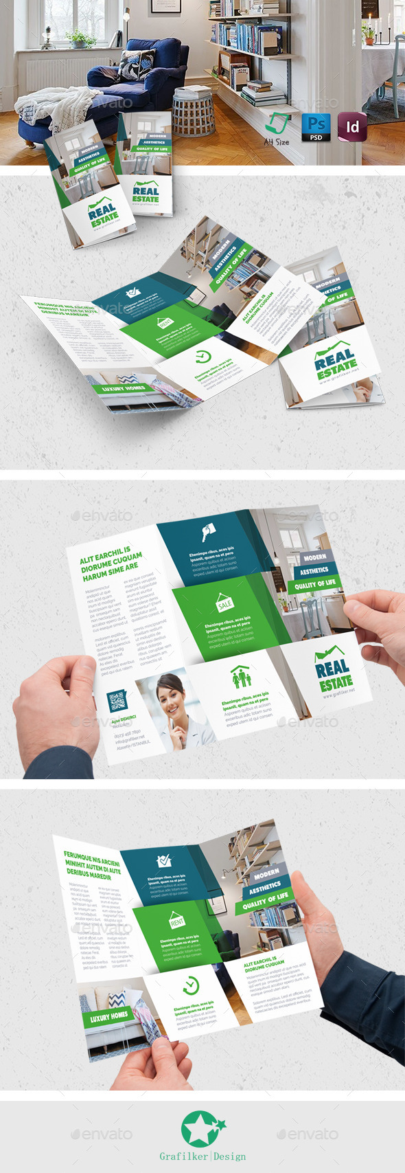 Real Estate Tri-Fold Templates - Brochures Print Templates