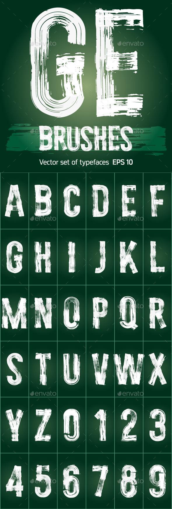 Set of Grunge Brush Font - Decorative Symbols Decorative