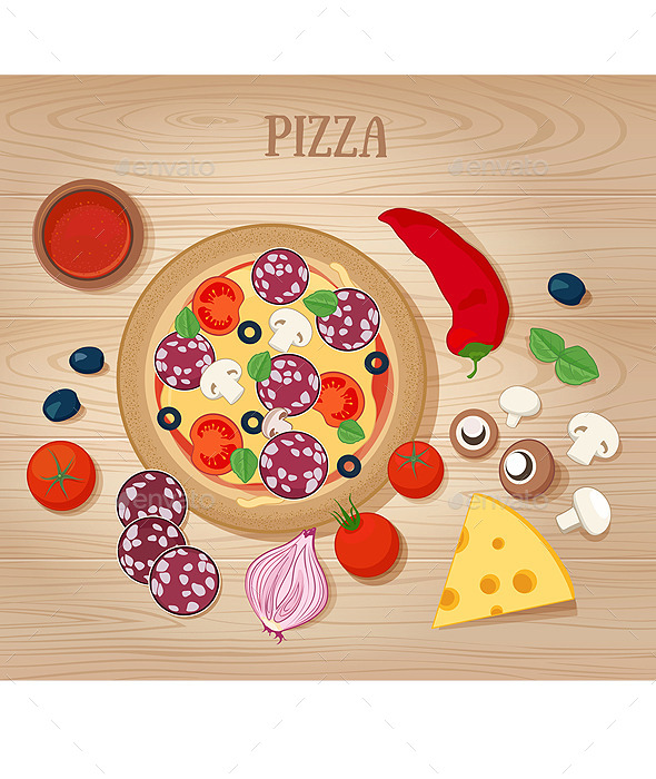 Pizza and Ingredients on Wooden Background
