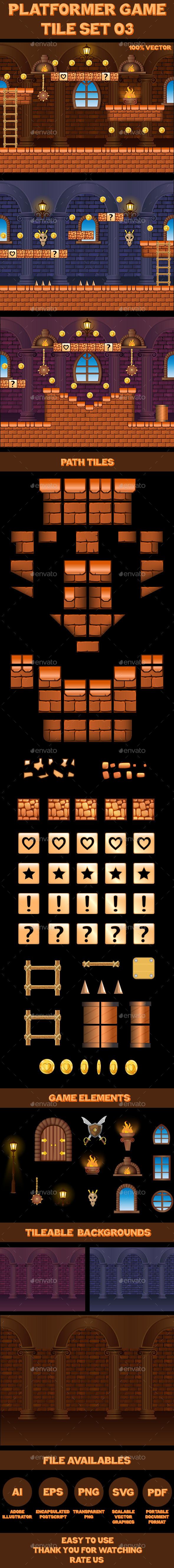Platform Game Tile Set 03 - Tilesets Game Assets