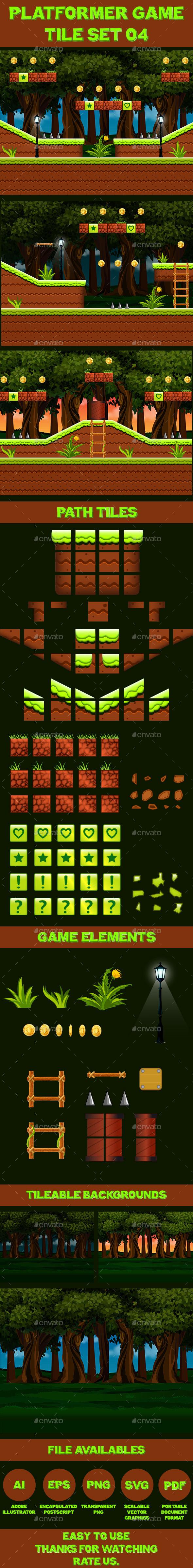 Platform Game Tile Set 04 - Tilesets Game Assets