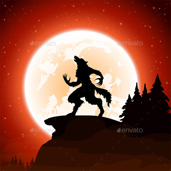 Halloween Background with Werewolf - Halloween Seasons/Holidays