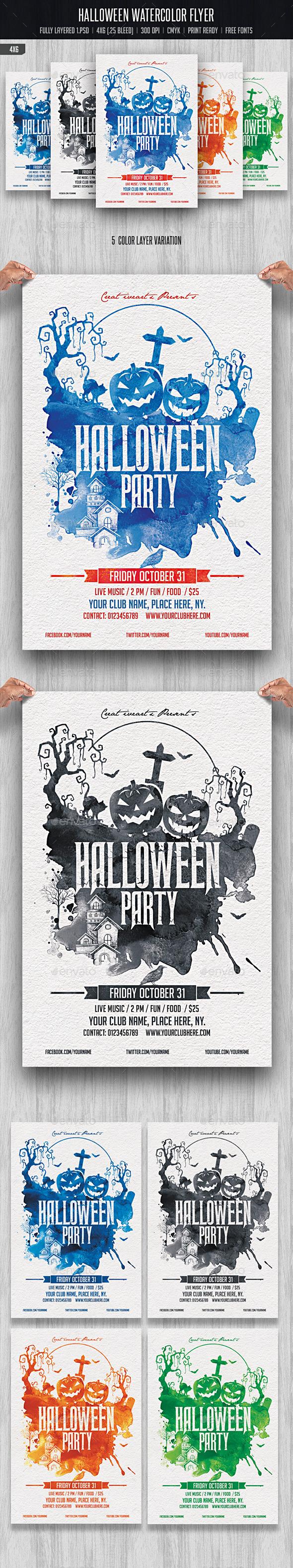 Halloween Watercolor Flyer - Events Flyers