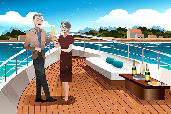 Retired Couple on a  Yacht - Travel Conceptual