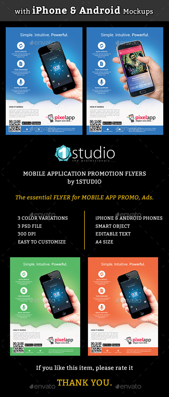 Mobile App Flyers with iPhone & Android Mockup - Commerce Flyers