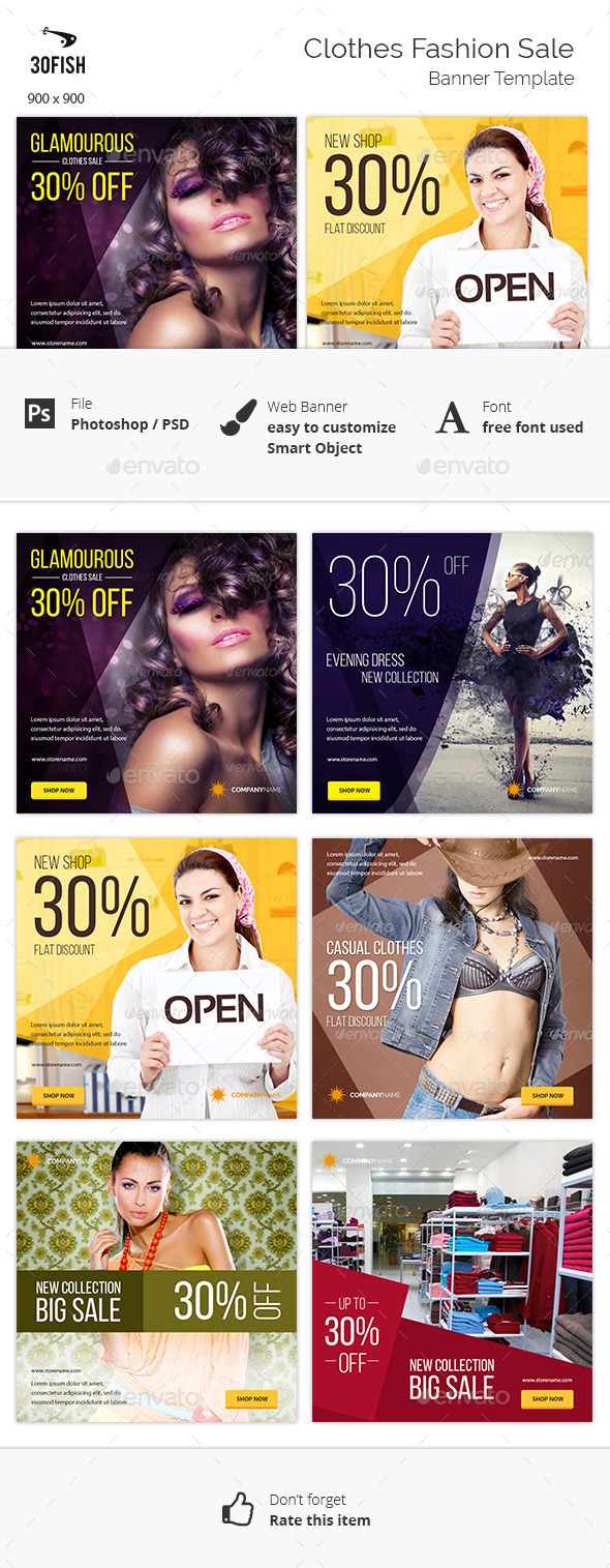 Clothes Fashion Sale Banner - Banners & Ads Web Elements