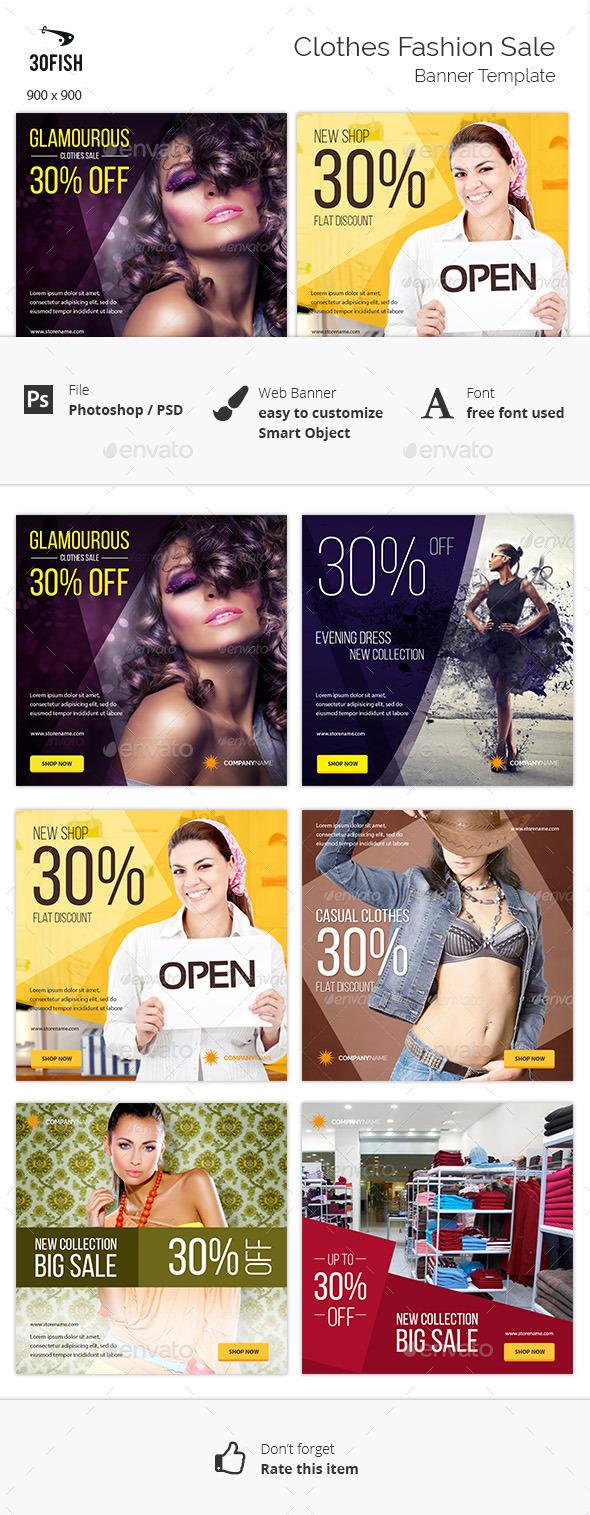 Clothes Fashion Sale Banner - Banners & Ads Web Elements