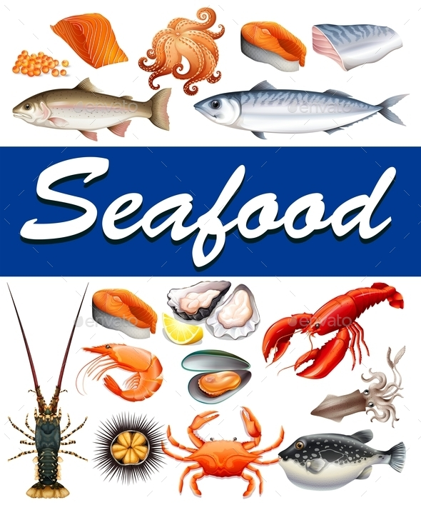 Different Kind of Seafood and Text - Food Objects