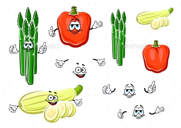 Bell Pepper, Asparagus And Zucchini Vegetables - Food Objects