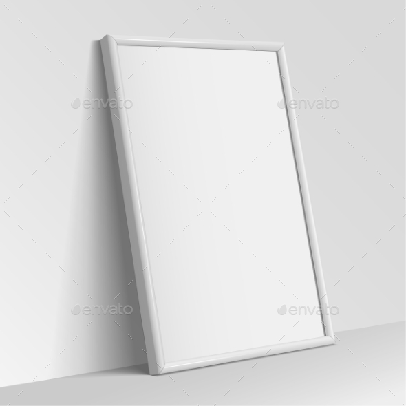 Realistic White Vertical Frame For Paintings - Objects Vectors