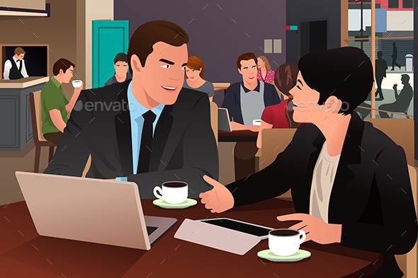 Business People Eating Together in the Cafeteria - Business Conceptual