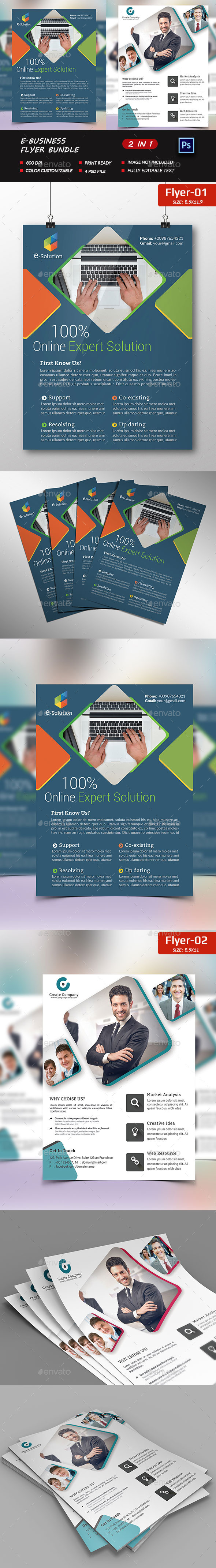 E-Marketing business Flyer Bundle