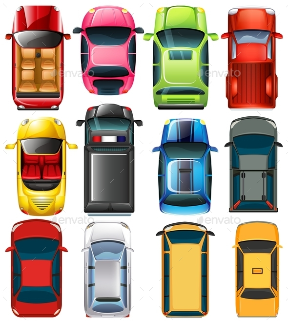 Top View of Different Cars - Man-made Objects Objects
