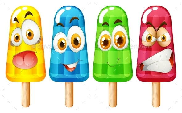 Popsicle with Facial Expression - Food Objects